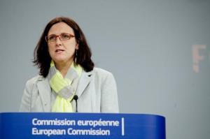 Cecilia Malmström presskonferens om traffickingstrategi