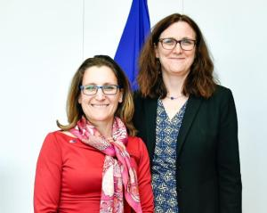 Chrystia Freeland, Kanadas handelsminister och Cecilia Malmström. Photo:EbS